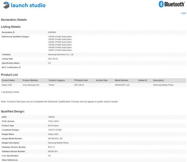 Samsung Galaxy M22 Bluetooth Certification